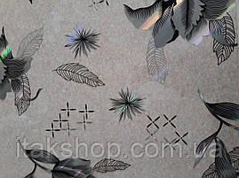 Мягкое стекло Скатерть с лазерным рисунком Soft Glass 2.9х0.8м толщина 1.5мм Серебристые цветы, фото 3
