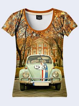 Женская футболка с принтом Автомобиль осень