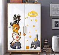 Наклейка декор в интерьере детской комнаты Котята