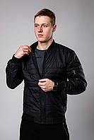 Бомбер куртка стьобаний утеплена весняна осіння чоловіча модна, колір чорний, фото 1