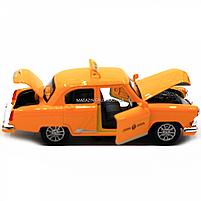 Машинка игровая автопром «1:32-36 ГАЗ-21» металл, 14 см, желтый такси, свет, звук, двери открываются (7508), фото 4