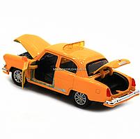Машинка игровая автопром «1:32-36 ГАЗ-21» металл, 14 см, желтый такси, свет, звук, двери открываются (7508), фото 5