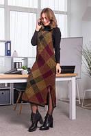 Теплое вязаное платье-сарафан с принтом в крупную клетку