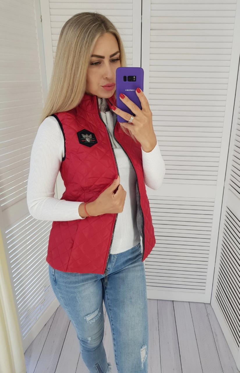 Стильная женская жилетка арт.813 красная