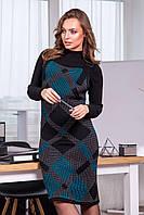 Вязаное платье-сарафан с принтом в крупную клетку, исполнено двойной вязкой гладью