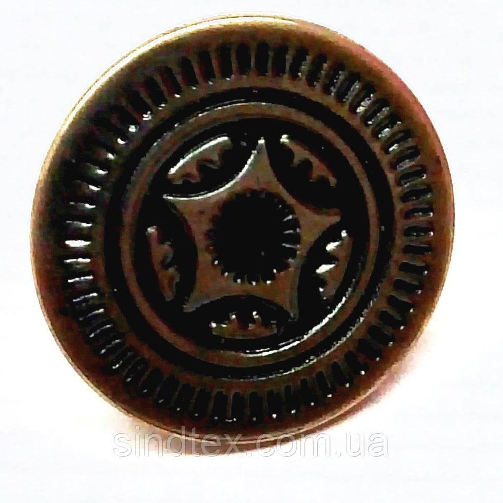 Джинсовая пуговица 17мм  Блек никель (1000шт) (653-Т-0733)