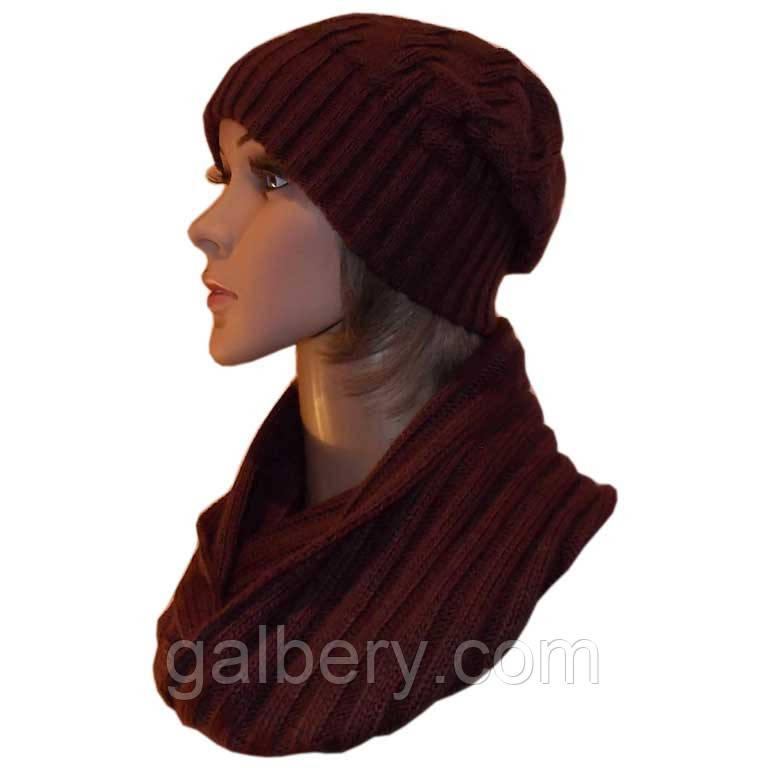 Вязаная женская шапка-носок и шарф-снуд глубокого коньячного цвета