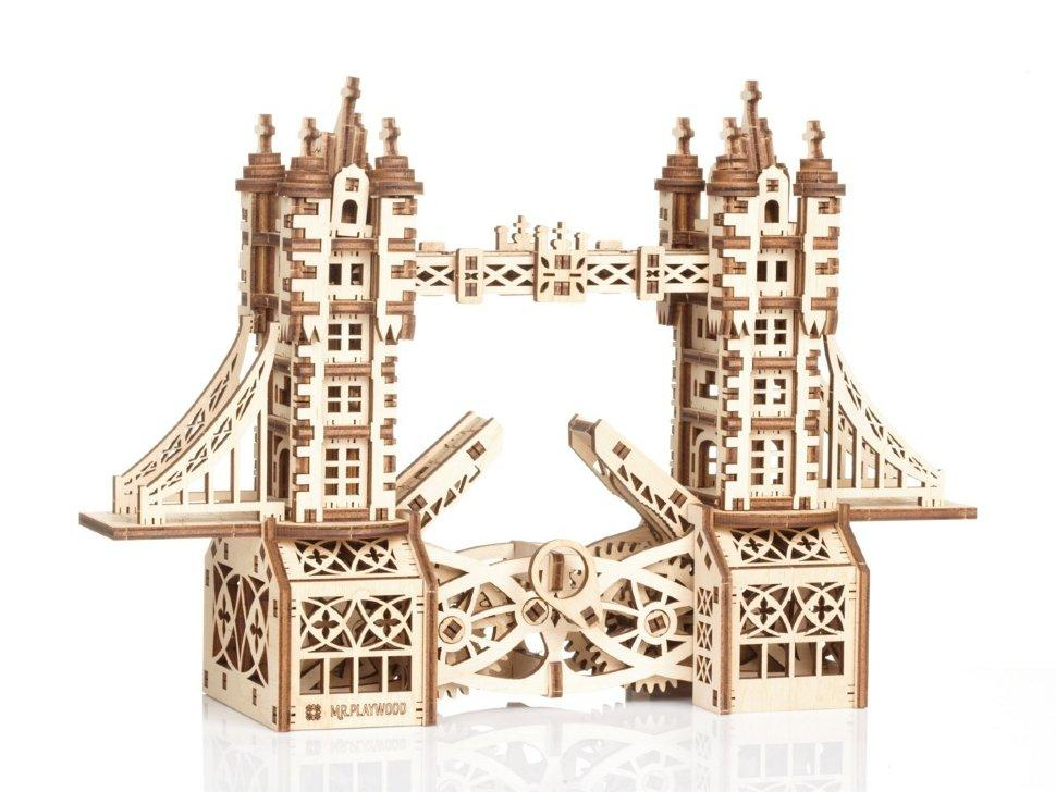 Тауэрский (Лондонский) мост S Mr.Playwood (226 деталей) - механический деревянный 3D пазл конструктор