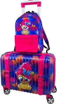 Чемодан пластиковый для девочки DeLune 002 + рюкзак