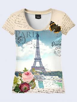 Женская футболка с принтом Открытка из Парижа