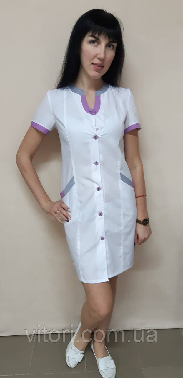 Жіночий медичний халат Веселка бавовна короткий рукав