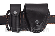 Чехол двойной под магазин и наручники  (кожа, чёрная)