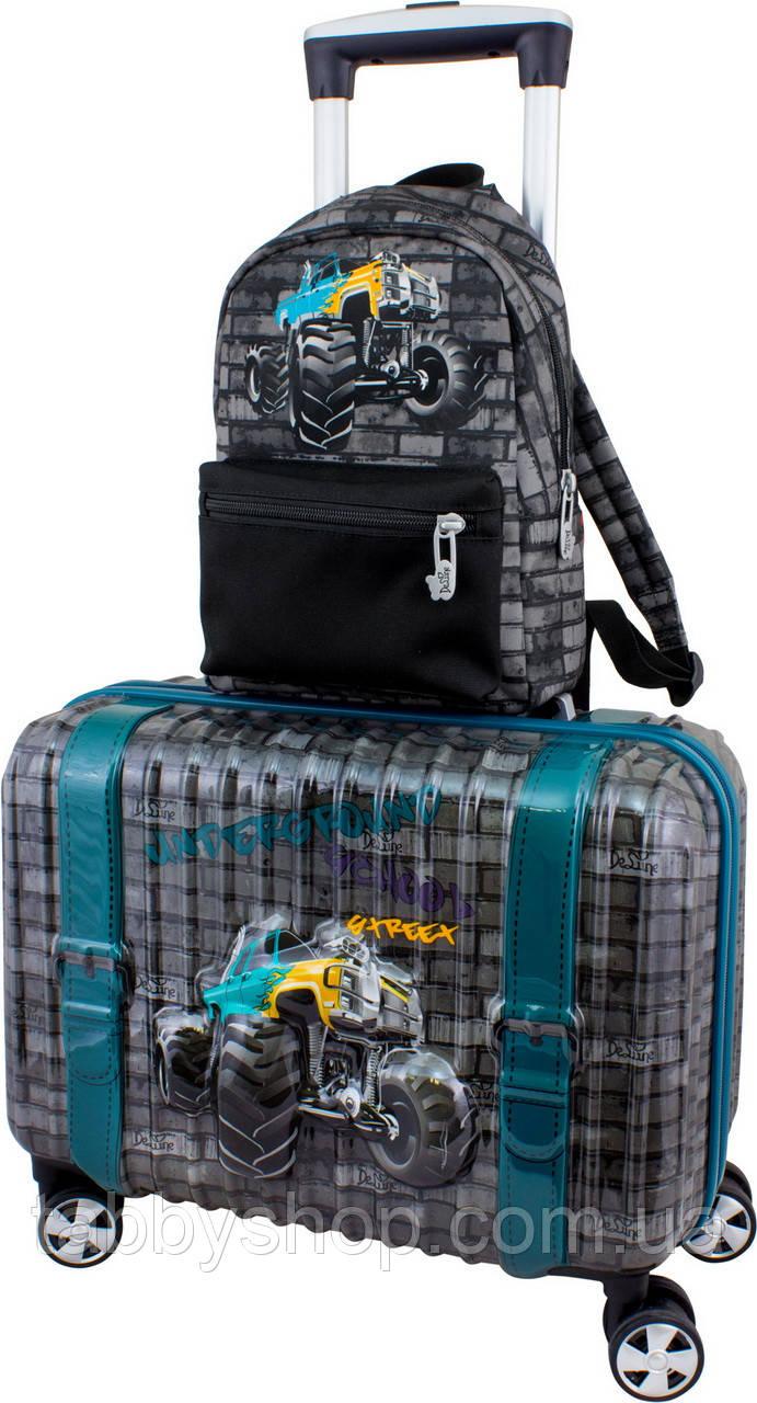 Чемодан пластиковый для мальчика DeLune 003 + рюкзак