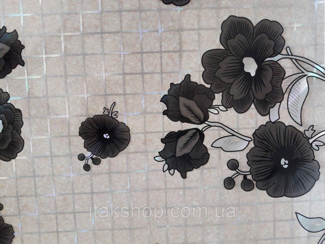 М'яке скло Скатертину з лазерним малюнком Soft Glass 1.3х0.8м товщина 1.5 мм Чорні квіточки