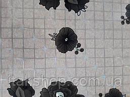 М'яке скло Скатертину з лазерним малюнком Soft Glass 1.3х0.8м товщина 1.5 мм Чорні квіточки, фото 2