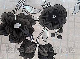 М'яке скло Скатертину з лазерним малюнком Soft Glass 1.3х0.8м товщина 1.5 мм Чорні квіточки, фото 3