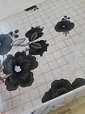 М'яке скло Скатертину з лазерним малюнком Soft Glass 2.3х0.8м товщина 1.5 мм Чорні квіточки, фото 3