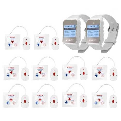 Система виклику медперсоналу RECS №59 | кнопки виклику медсестри 10 шт + 2 пейджера персоналу