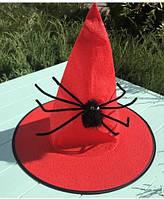 Ковпак відьми з павуком (червоний, фіолетовий, помаранчевий, чорний)