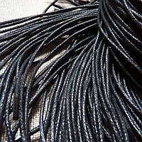 Шнурок вощеный, круглый 2 мм., 100 см., черный.