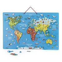 Пазл магнитный Карта мира с маркерной доской, на украинском (44508), Viga Toys