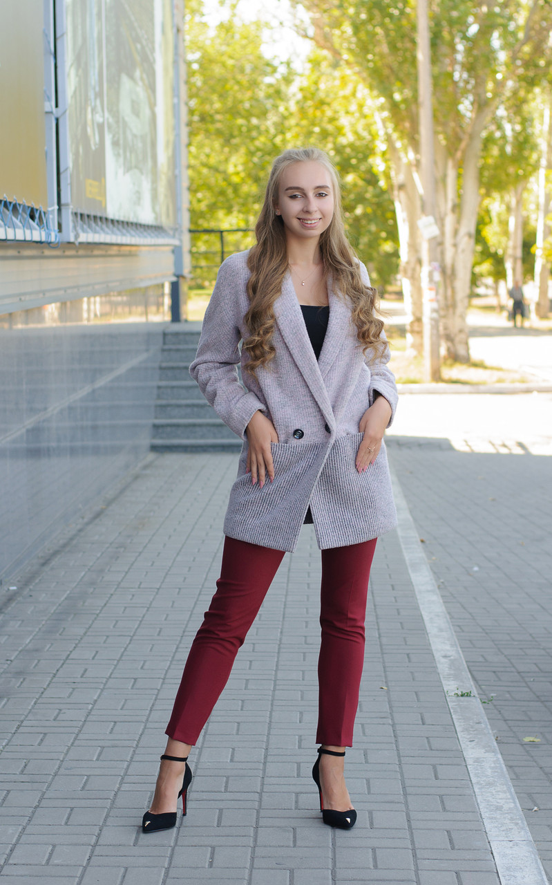 Жіноче демісезонне вкорочене пальто кардиган Д 439