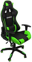 Геймерское кресло с кожзама на колесиках игровое раскладное стул игровой с подушками экокожа зеленый
