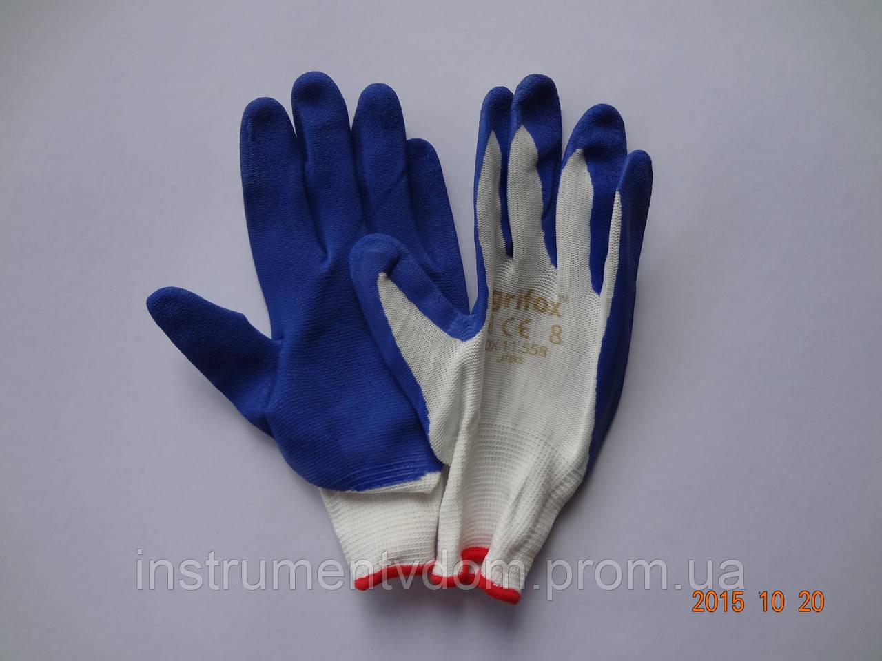 Перчатки рабочие защитные из полиэстера с синим латексным покрытием Оgrifox (упаковка 12 пар)
