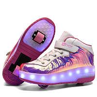 Роликовые светящиеся кроссовки на колесиках, 2 ролика, USB зарядка, в стиле heelys, розовые перламутр 555-555p