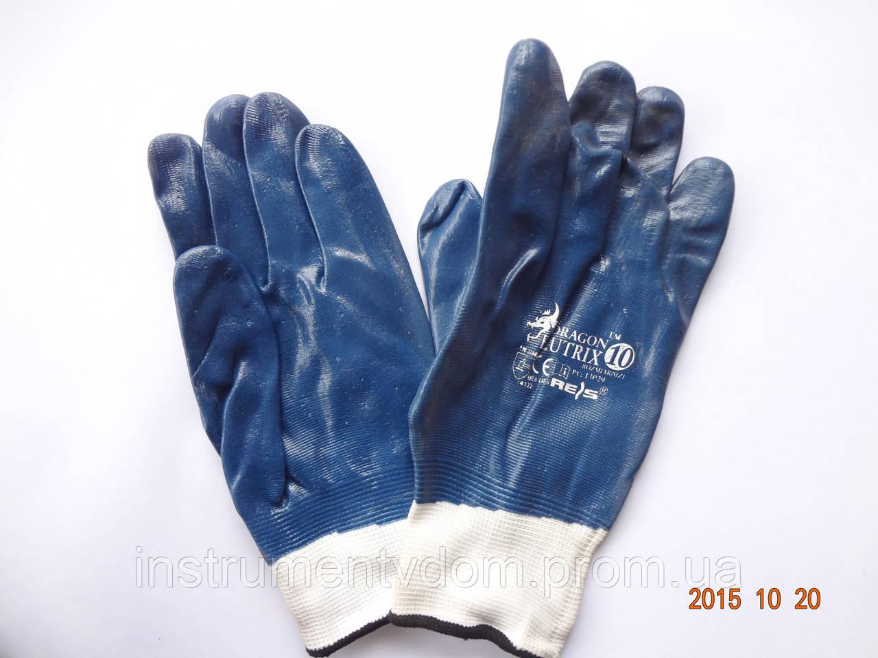 Перчатки синие защитные из полиэфира с нитриловым покрытием REIS DRAGON BLUTRIX (упаковка 12 пар)