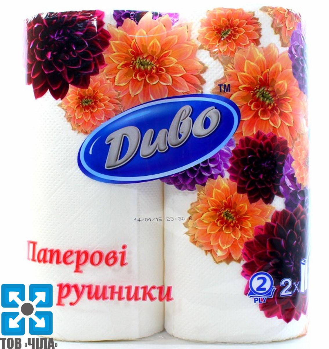 Бумажные полотенца белые 2-слоя ДИВО (2 рул/уп)