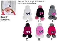 AJS комплект для девочки шапка+шаль 30/341