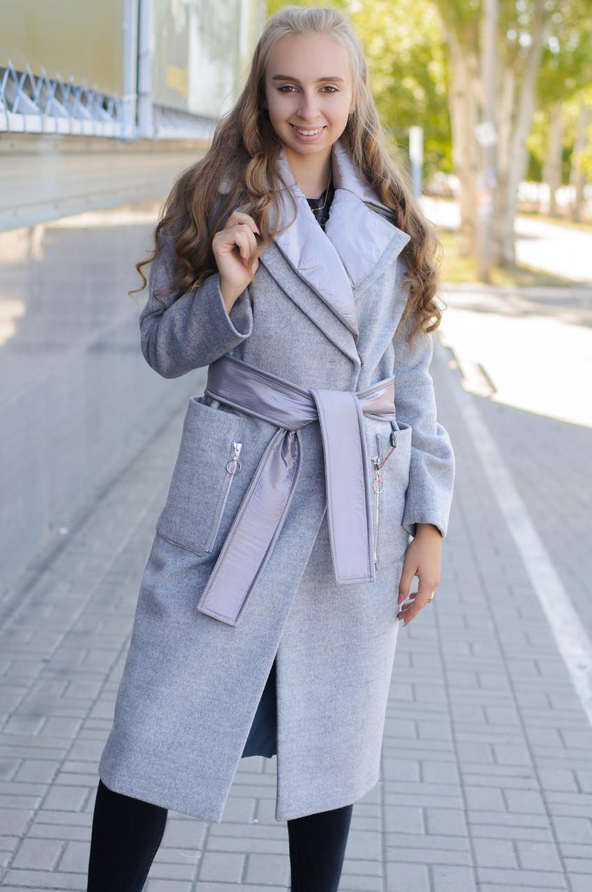 Женское демисезонное пальто кокон серое