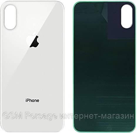 Крышка задняя iPhone X Silver (большой вырез под камеру)