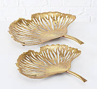Набор двух декоративных чаш Гинкго Н 7-9 см металл золото Гранд Презент 1021873, фото 1