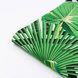 """Тканина бязь """"Зелене листя різних пальм і чорні ромби"""", № 2921а, фото 6"""