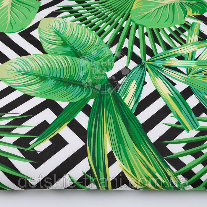 """Ткань бязь """"Зелёные листья разных пальм и чёрные ромбы"""", № 2921а"""