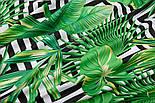 """Тканина бязь """"Зелене листя різних пальм і чорні ромби"""", № 2921а, фото 5"""