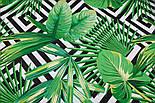 """Ткань бязь """"Зелёные листья разных пальм и чёрные ромбы"""", № 2921а, фото 2"""