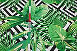"""Ткань бязь """"Зелёные листья разных пальм и чёрные ромбы"""", № 2921а, фото 3"""
