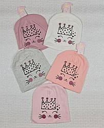 Трикотажная шапка серый, розовый, белый,  обхват 50-52 см