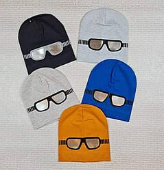 Трикотажная шапка серый, синий, оранжевый, черный  обхват 52-54 см
