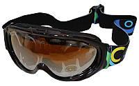 Очки горнолыжные (акрил, пластик, PL, двойные линзы, антифог, цвет линз-оранж,опр.черно-коричневая)