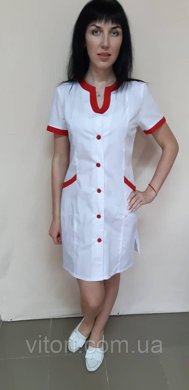 Женский медицинский халат Радуга хлопок  короткий рукав
