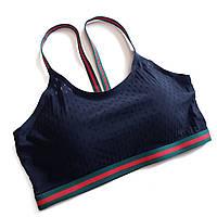 Топ с пуш-апом спортивный черный с резинками зелеными с красным