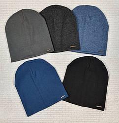 Трикотажная шапка  серый, синий, красный, черный  обхват 52 см