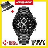 Кварцевые наручные часы мужские черные. Водонепроницаемые противоударные металлические часы
