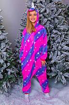 Пижама теплая Кигуруми Единорог диагональ   Для взрослых и детей Фиолетово - розового цвета