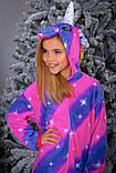 Пижама теплая Кигуруми Единорог диагональ   Для взрослых и детей Фиолетово - розового цвета, фото 3