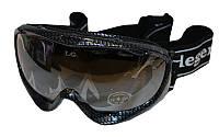 Очки горнолыжные (акрил, пластик, PL, двойные линзы, антифог, цвет линз-серый,опр.сер-черная)